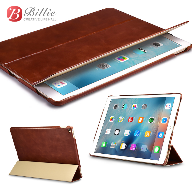 ICARER Vintage Series Luxury High Qaulity Genuine Leather Flip Case new for iPad Pro 12.9 Cover with Smart Stand Holder