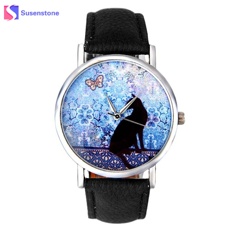 Wavors Vogue Cat Watch Fashion Women Leather Quartz-Watch Casual Ladies Wrist Dress Watches Montre Femme 2017 Hot New Gift newly design dress ladies watches women leather analog clock women hour quartz wrist watch montre femme saat erkekler hot sale