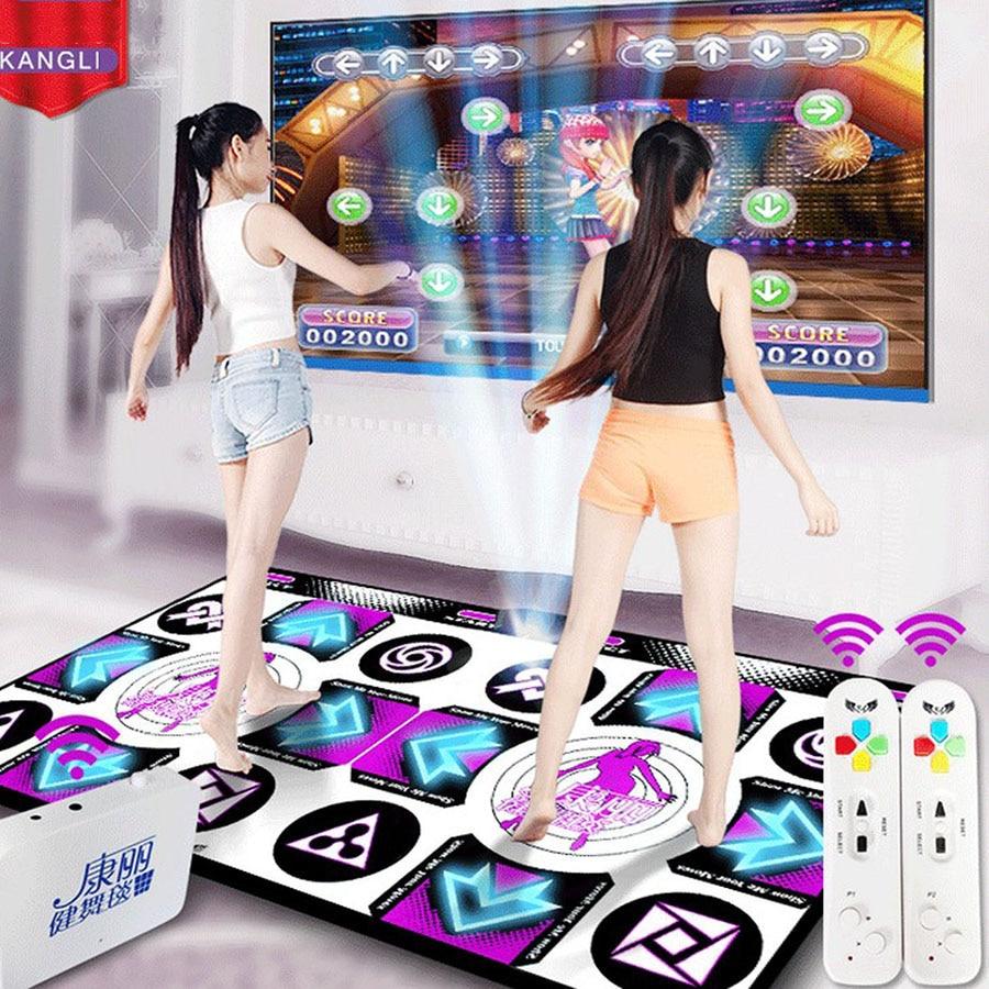 Kl menu inglês almofadas de dança esteiras para tv computador computador guia luz flash esteira de dança dupla sem fio controll jogos yoga esteiras fitness