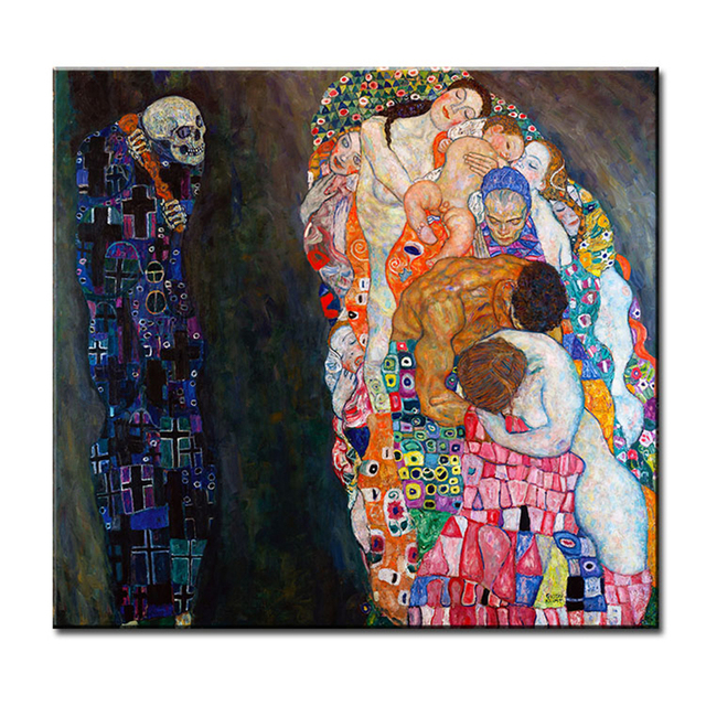 Original Wall Picture Gustav Klimt Death Life Painting Home Oil Art Print Canvas No Framed