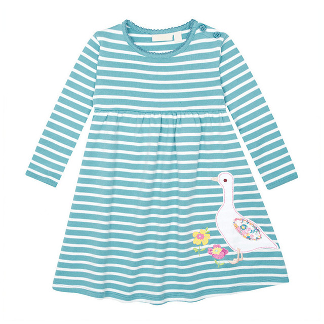Little Maven Brand New Girls Autumn Spring Long-sleeved O-neck Fashion Striped Duck Cotton Cute Casual Dresses