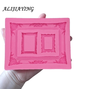 1Pcs 3D big Retro Relief Mirror Frame chocolate Party cake decorating tools DIY baking fondant silicone mold D0950