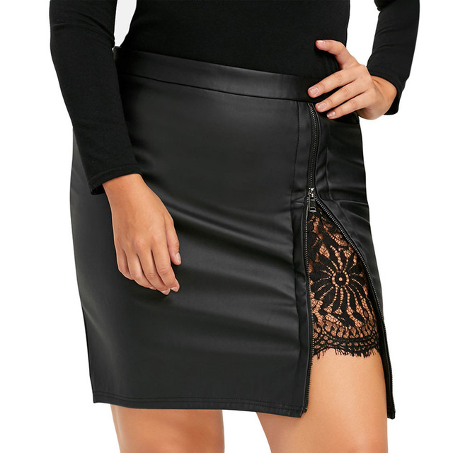 Women Skirt Leather Lace Pleated Empire Skirt Faux Leather