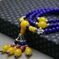 Retro 6mm Lapis lazuli Chalcedony Beads Bracelet hand chain for women girls Natural Stone Ladies Pendant Thailand Buddha