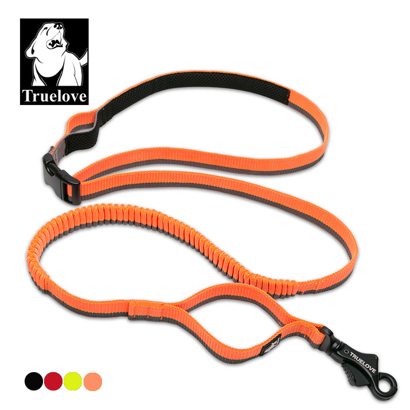 Truelove Dog Running Bungee Leash Hand-held Waistworn Nylon laras Anjal Anjal Anjal Leads untuk Running Jogging Walking