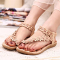 Женщины Сандалии Мягкие кожаные Летние туфли женщина дышащие женская обувь Богемии женская Обувь Цветок сандалии женщин плоские туфли 426