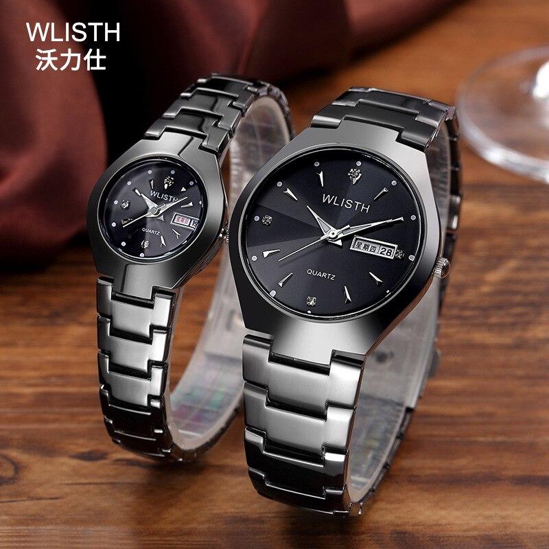 Watch men 39 s luminous watch tungsten steel color waterproof fashion student couple watch male calendar quartz watch in Women 39 s Watches from Watches