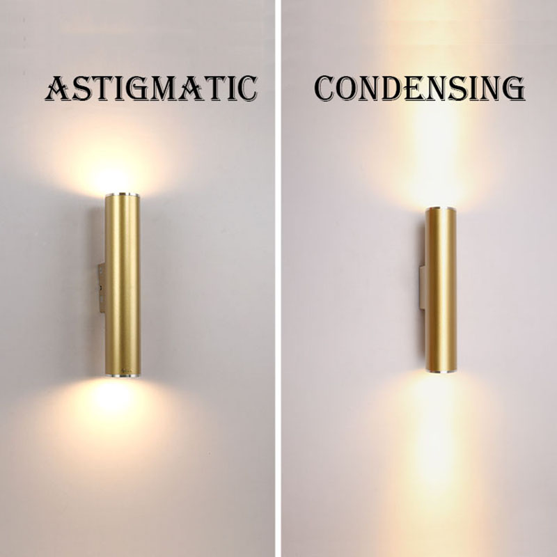 Wall Light Gold Tube Design lights Plating Aluminium Cover LED Sconce Light Hallway Coffee Shop Indoor Up and Down Light ...