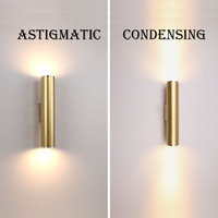 Wall Light Gold Tube Design lights Plating Aluminium Cover LED Sconce Light Hallway Coffee Shop Indoor Up and Down Light