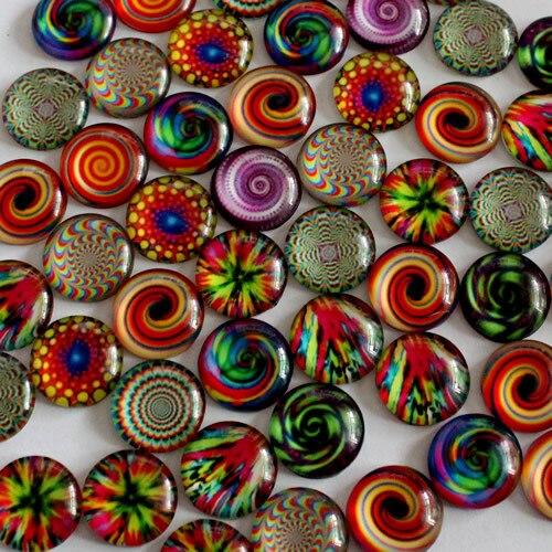 10mm Mixed Style Kaleidoscope Round Glass Cabochon Flatback Photo Dome Jewelry Finding Cameo Pendant Settings 50pcs/lot (K02830)