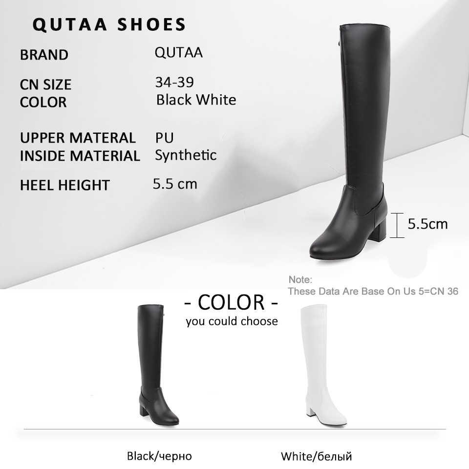 QUTAA 2020 Yumuşak PU Deri Moda Fermuar Çizmeler Kare Yüksek Topuk Diz Yüksek Çizmeler Muhtasar Yuvarlak Toe Kış Kadın Ayakkabı boyutu 34-39