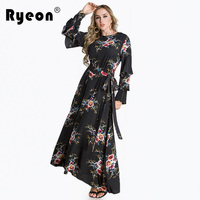 Ryeon Plus Size Spring Vintage Dress Print O Neck Flare Long Sleeve Ankle-length Casual Dress Middle East Women Dress Vestidos