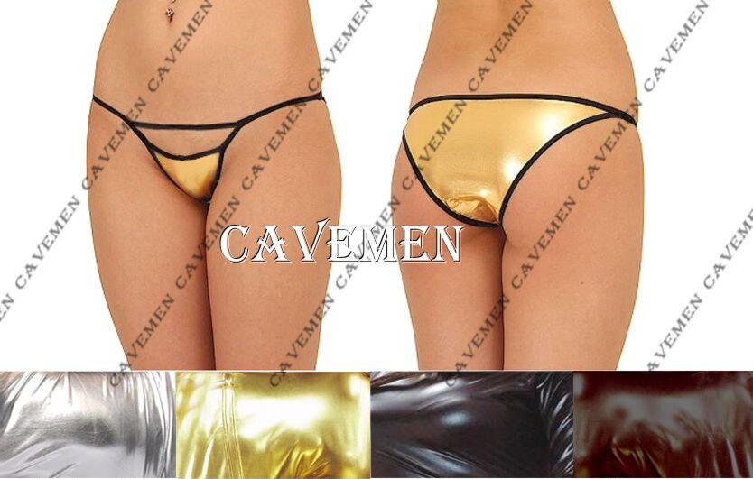Buy Pretty Bust Metallic color Leatherwear 2351Ladies Thongs G-string Underwear Panties Briefs T-back Swimsuit Bikini Free Shipping
