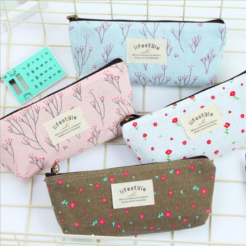 Cute Fashion Garden Flower Pencil Bag Canvas Cosmetic Bag Children'S Student Stationery Gift Bag School Office Supplies 1pc