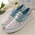 Женская обувь 2015 Новая коллекция весна осень холст обувь цветочный печати женская мода повседневная обувь на шнуровке квартира с обуви женщина