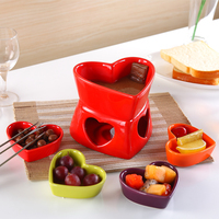 Free shipping heart shape Ceramic chocolate fondue sets cheese hot pot cheese warmer fruit dish set with forks and candles