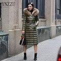 YNZZU 2016 Novas Mulheres Para Baixo Casaco de Inverno de Espessura X-Longo Quente Guaxinim grande Gola De Pele Com Capuz Magro Casacos Plus Size 6XL YO108