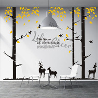 Forest Tall Tree Vinyl Wall Decals Kids Room Wild Forest Theme Wall Sticker Nursery Tree Decor Deer Animals Wall Mural AC233