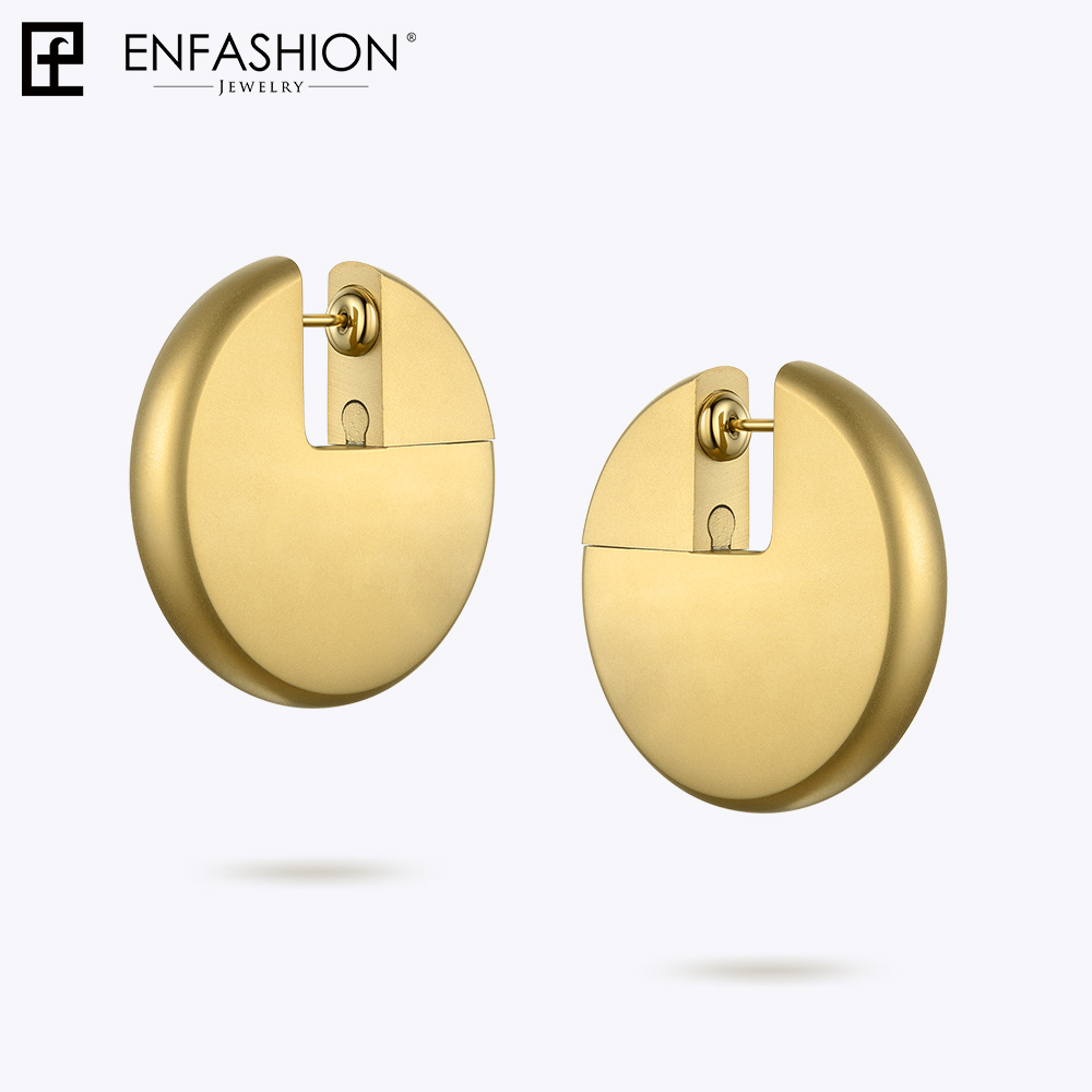 Image 3 - Enfashion Discos Drop Earrings For Women Gold Color Big Circle  Statement Stainless Steel  Earings Fashion Jewelry Oorbellen 1053Drop  Earrings