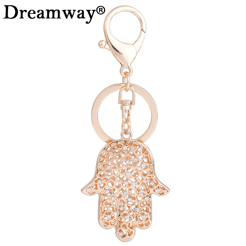 Gold/Silver Plated Hand Shape Keyring Rhinestone Charms Keychain Fashion For Car Key Ring Accessories Girl Bag Pendant hanger