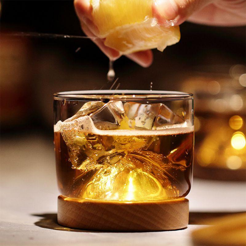 Vluchten Zoeken Huis Keuken Whiskey Glas Mountain Houten Bodem Wijn Transparant Glas Cup Voor Whiskey Wijn Vodka Bar Club