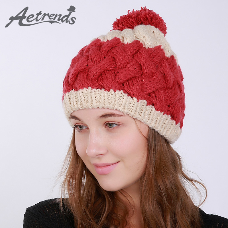 [AETRENDS] 2017 Winter Beanie Hats for Women Warm Knitted Female Caps Beanies Pompom with Top Ball Z-6007 2016 new beautiful colorful ball warm winter beanies women caps casual sweet knitted hats for women outdoor travel free shipping
