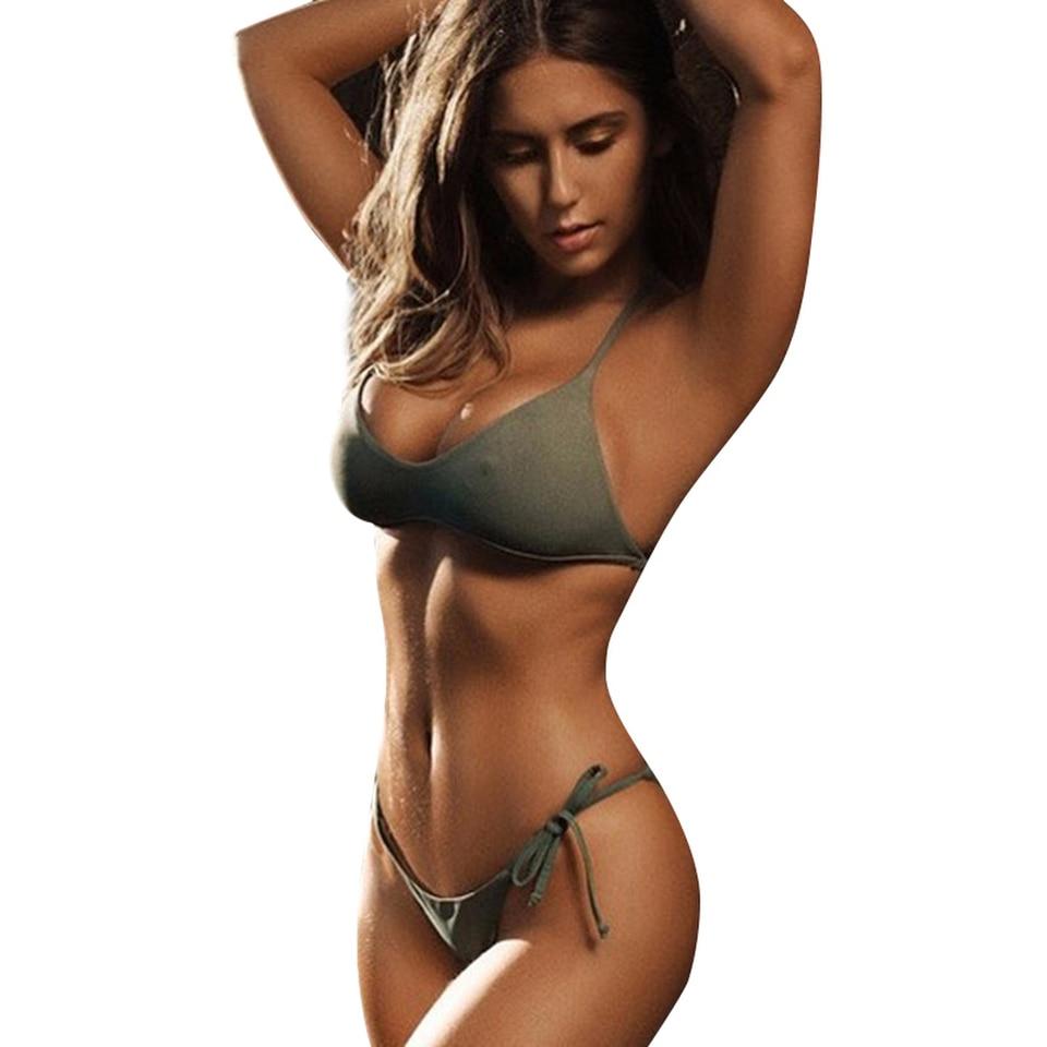 slingshot bikini girl green
