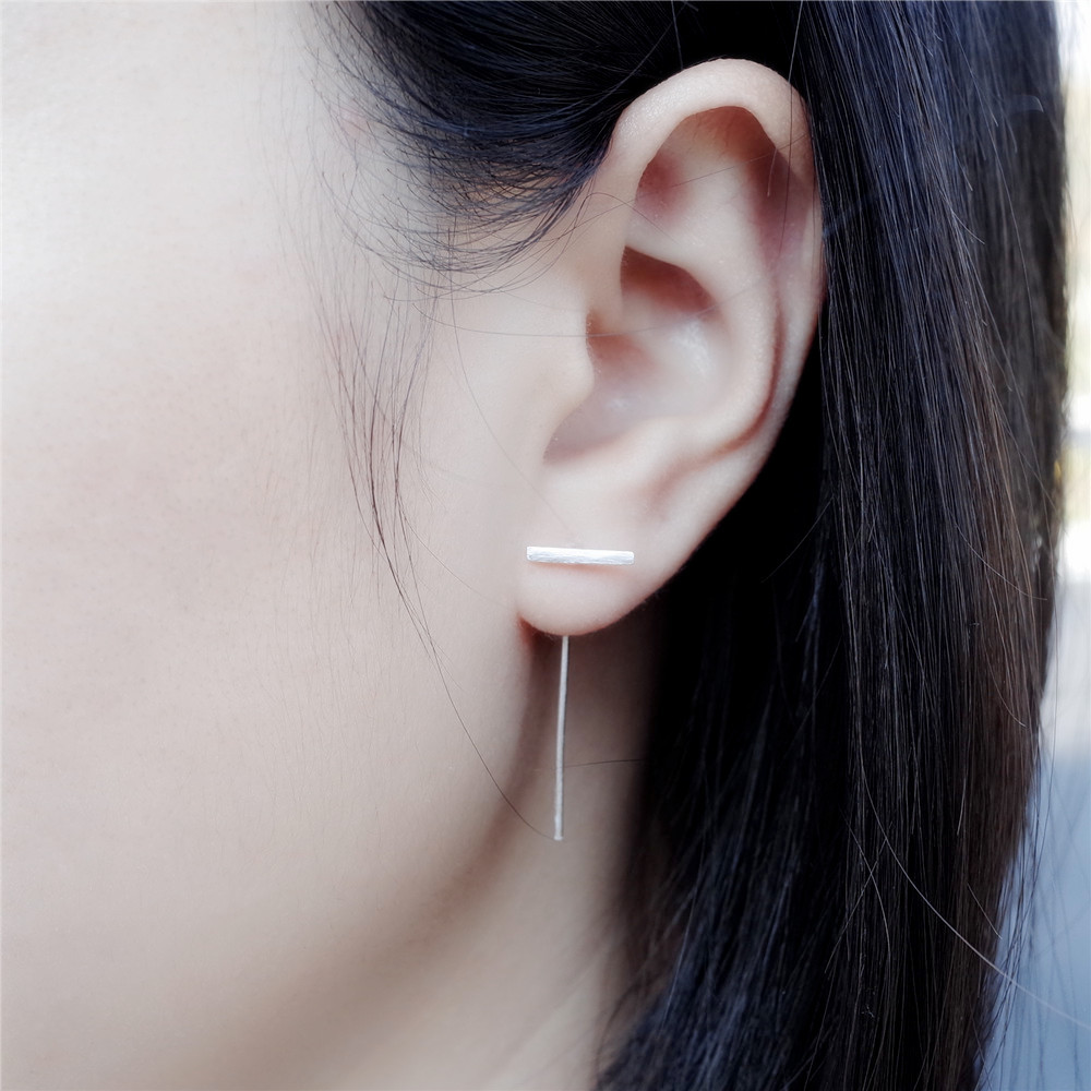 Flyleaf 925 Sterling Silver Long Strips Stud Earrings For Women Original Simple Lady Prevent Allergy Sterling-silver-jewelry