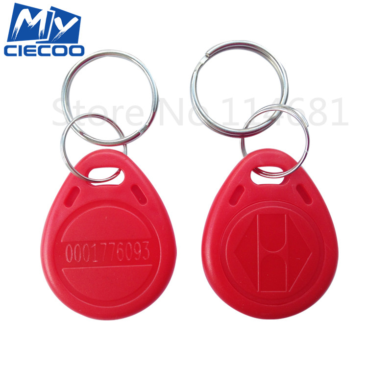 Free Shipping 100pcs/lot  Red Color RFID 125Khz Keyfobs  TK4100 Key Tag  Proximity ID Token Key Tags For Door Access Control купить