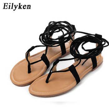 Eilyken Women Cross strap Knee high Summer Roman Gladiator Sandals Strappy Clip Toe thong Flat Heel Flip flops Flock Shoes - DISCOUNT ITEM  35% OFF All Category