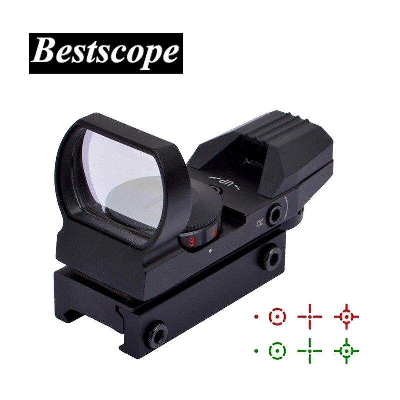 Caliente 20mm Riflescope caza óptica holográfica vista de punto rojo reflejo 4 retículo táctica alcance colimador vista