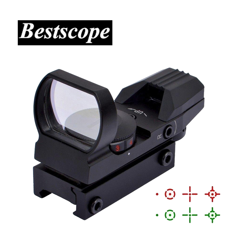Hot 20mm Rail Riflescope Hunting Optics Holographic Red Dot Sight Reflex 4 Reticle Tactical Scope Collimator Sight hot tactical riflescope 2 5 10x40 optics red laser holographic sight scope illuminated shooting hunting scope 11 20mm rail mount
