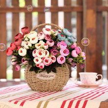 Klonca Fresh Natural Silk 30cm 9pcs/bouquet Artificial Flower Camellia Buds  Greening Projects Shop Home Decorations