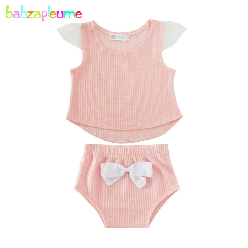 Детская одежда для новорожденных девочек милый розовый цвет Нарядная одежда для малышей летние без рукавов Детский костюм футболка + pp Брюк...