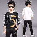 4 5 6 7 8 9 10 11 12 13 14 15 Years Kids Clothing Set Spring Sport Suit Shirt + Pant 2pcs Boy Clothes Set Kinderkleding Jongens