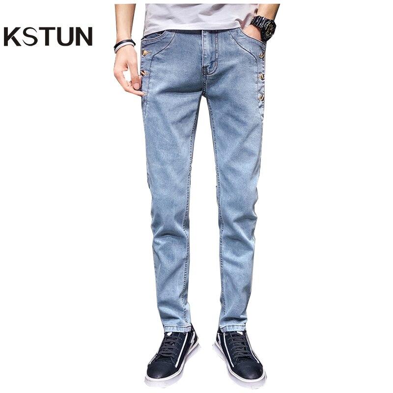KSTUN Mens Jeans 2019 Fashion Buttons Designer Gray Supper Skinny Stretchy Denim Joggers Biker Moto Jeans Male Rivets Pantolon