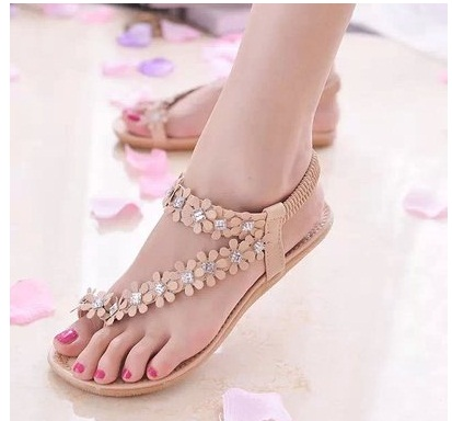 Qualité Chaussures Perles Sandales Fleur Plates Confort kaki Été Blanc Strass Mode Femmes 2016 Haute Avec qP5CUU