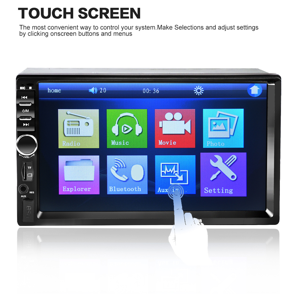 Universal 7 Inch Dual 2 Din Handsfree Car Bluetooth Audio <font><b>MP5</b></font> Car Player <font><b>7018B</b></font> 1080P HD Touch Screen DVD Vedio Player SD USB FM image