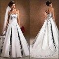 Preto e Branco Do Vestido de Casamento 2017 Strapless Modest Appliqued Igreja Encantadora Do Vintage Uma Linha de Trem Da Varredura Do Casamento Vestidos de Noiva