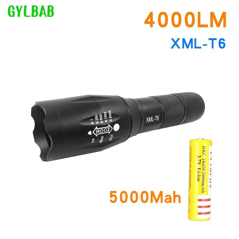 Gylbab Led Aufladbare Taschenlampe Xml T6 Laterne Taschenlampe 4000 Lumen 18650 Batterie Outdoor Camping Leistungsstarke Led Taschenlampe