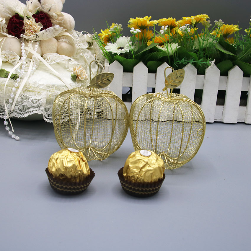 Golden apple shaped iron cage candy box gift box jewelry box wedding and party favor boxes
