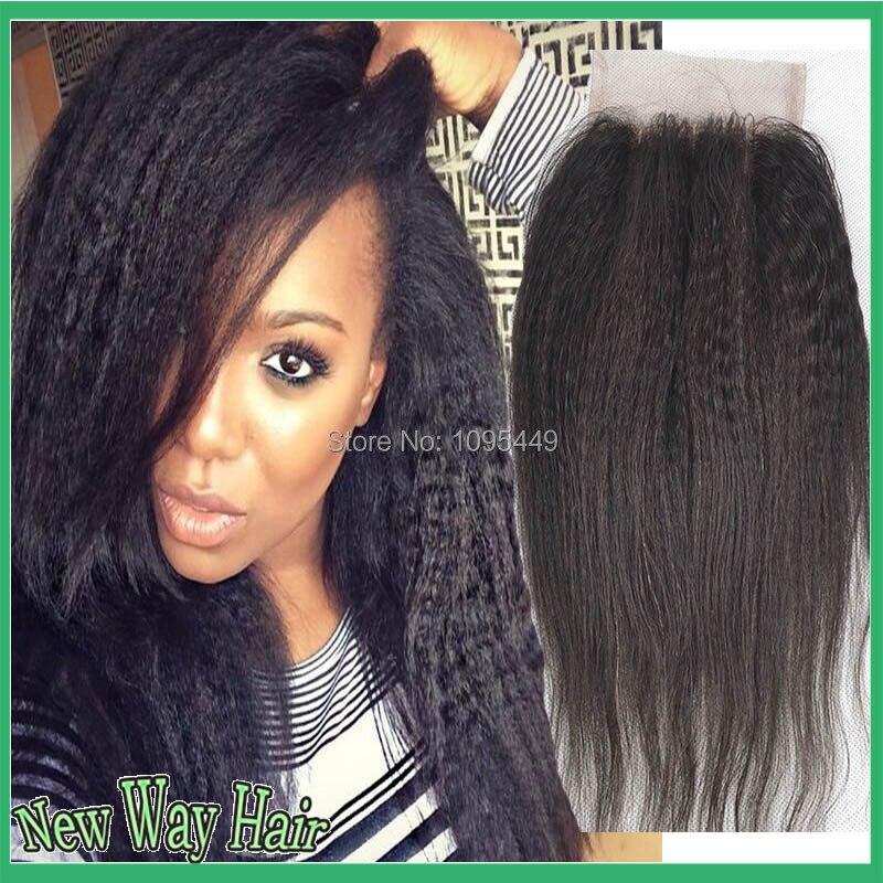 ФОТО 4*4 7A Grade Virgin Malaysian Hair Kinky Straight Lace Closure With Cheap Human Hair Free/Middle/Side/3 Part Closures Free Ship