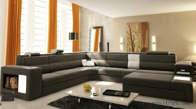Hot Modern Orange Sofa Set Large Size U Shaped Villa Couches Real Leather With Cabinet Bookself Home Furniture Sofas