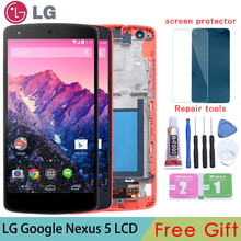 Original For LG Google Nexus 5 display D820 D821 LCD Display Touch Screen Digitizer with  Frame Full Assembly Replacement parts все цены