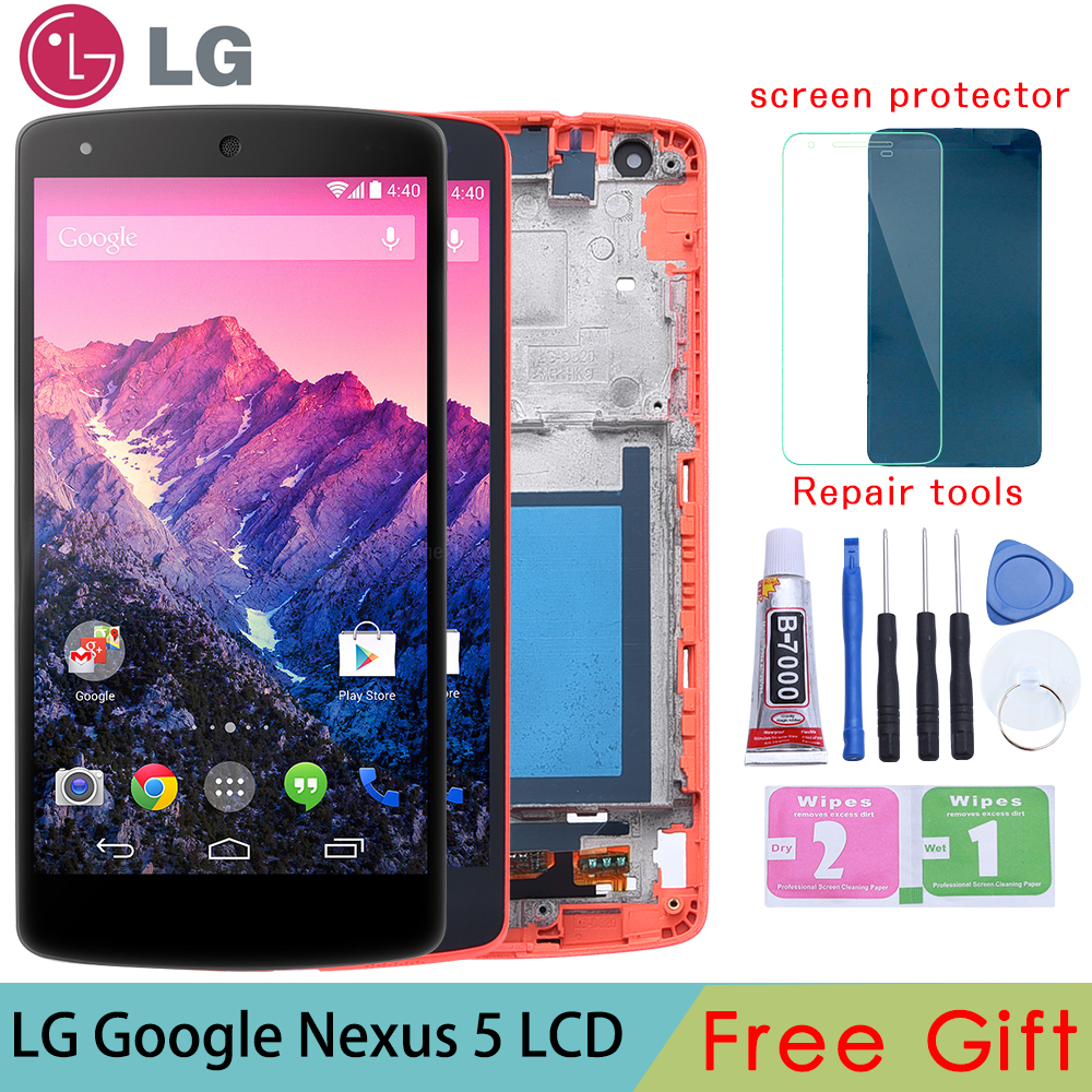 Originale Per LG Google Nexus 5 display D820 D821 LCD Display Touch Screen Digitizer con Telaio di Montaggio Completo parti di Ricambio