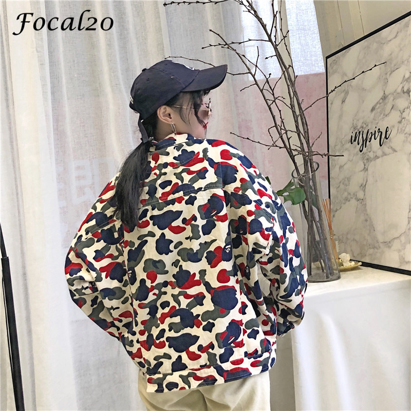 Focal20 Streetwear Camouflage Tassels Ripped Women Jacket Jeans Pockets Turn Down Collar Button Denim Jacket Coat Outwear 5