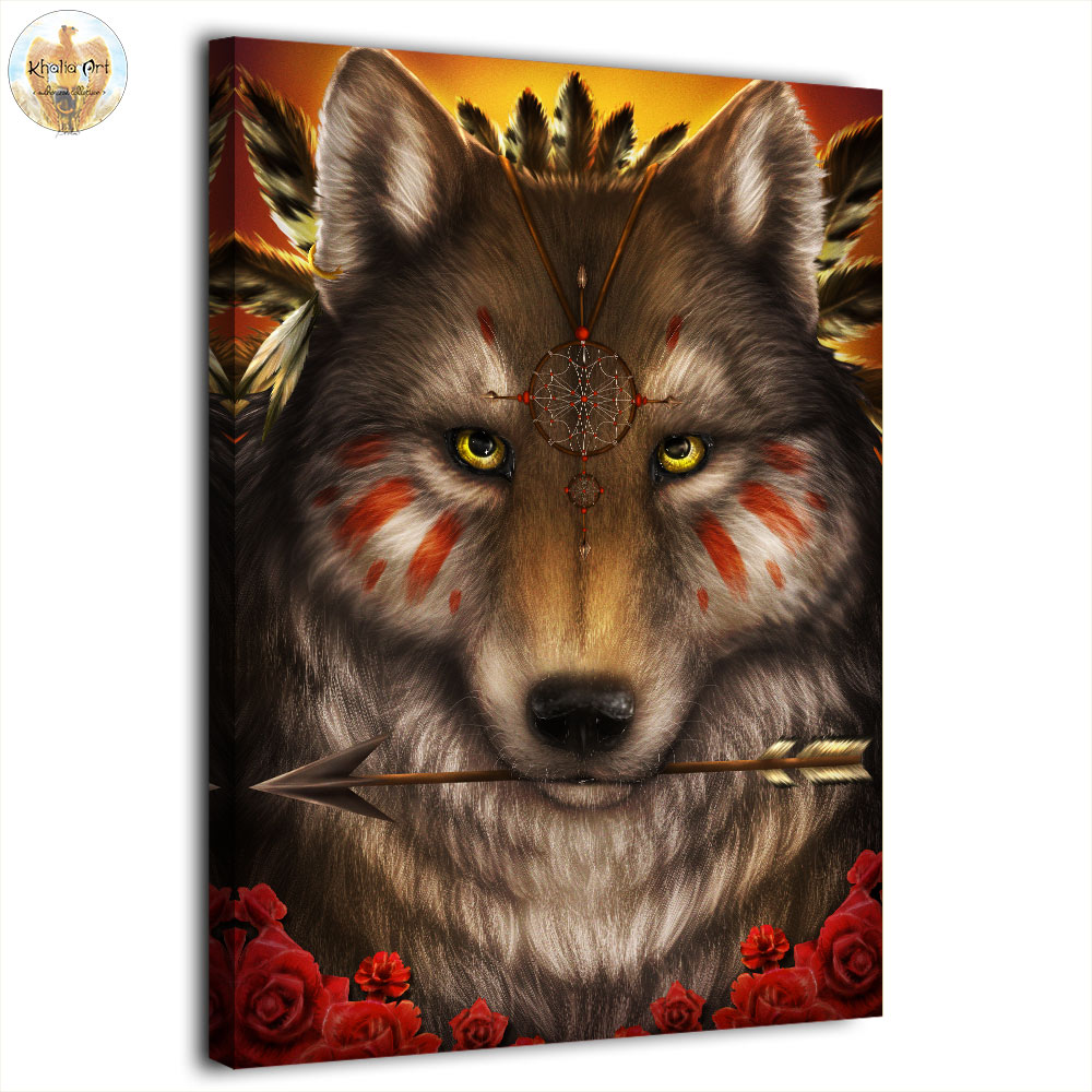 Modern HD printed 1 panel canvas painting Wolf Warrior by KhaliaArt wall pictures for living room posters and prints artwork