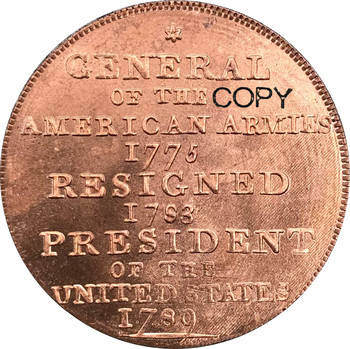 United States 1792 Washington Born Virginia Cent General of the Armies Reverse undated Baker 60 Plain Edge Red Copper Copy coins image