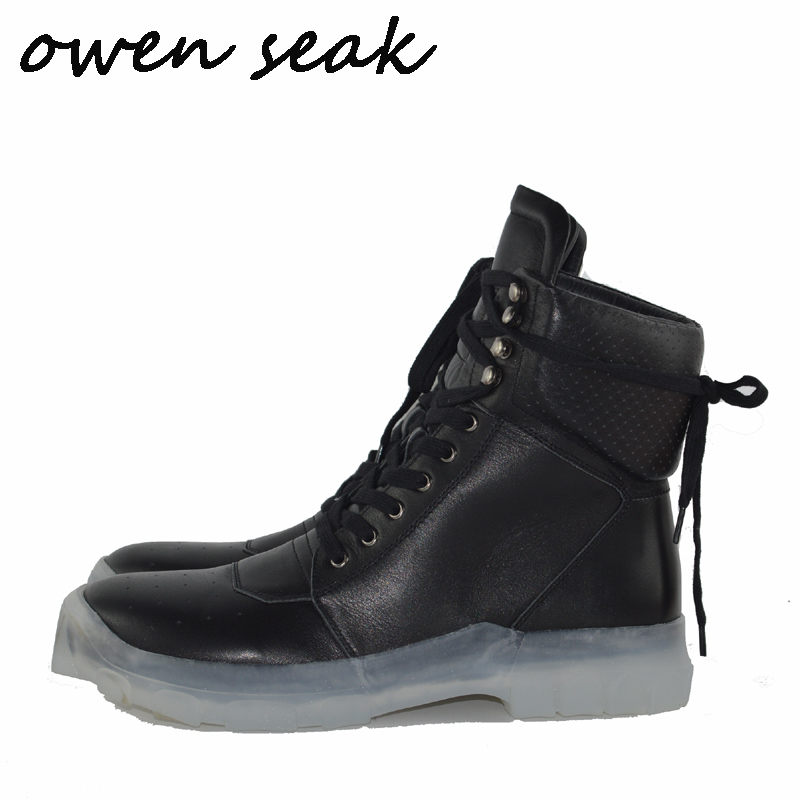 Owen Seak Men Boots High Ankle Luxury Trainers Cow Leather Winter Boots Lace Up Men Casual