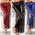 Autumn Winter Women High Waist Slim Faux Leather Pants Warm Leggings Trousers